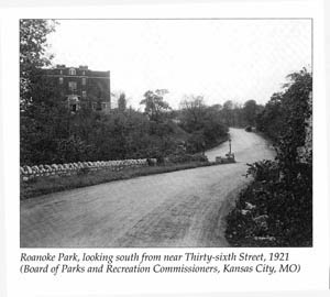 Roanoke Park, looking south from near Thirty-sisth Street, 1921 (Board of Parks and Recreation Commissioners, Kansas City, MO)