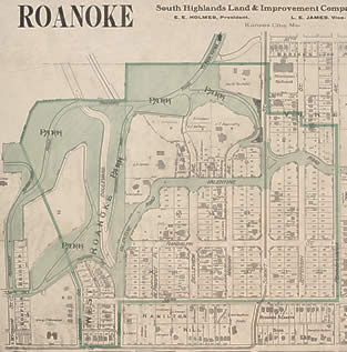 1907 Sanborn Map of Roanoke residential district of Kansas City. Click for a blowup.