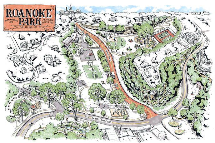 Roanoke Park by artist Gavin Snider, 2016