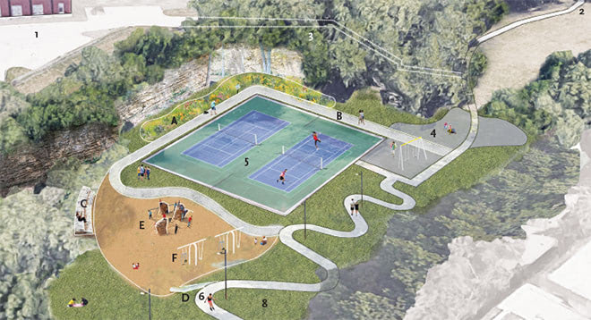 South Meadow Concept: A big slide into sand, play boulders and seating, and a path behind the tennis courts along a pollinator planting.